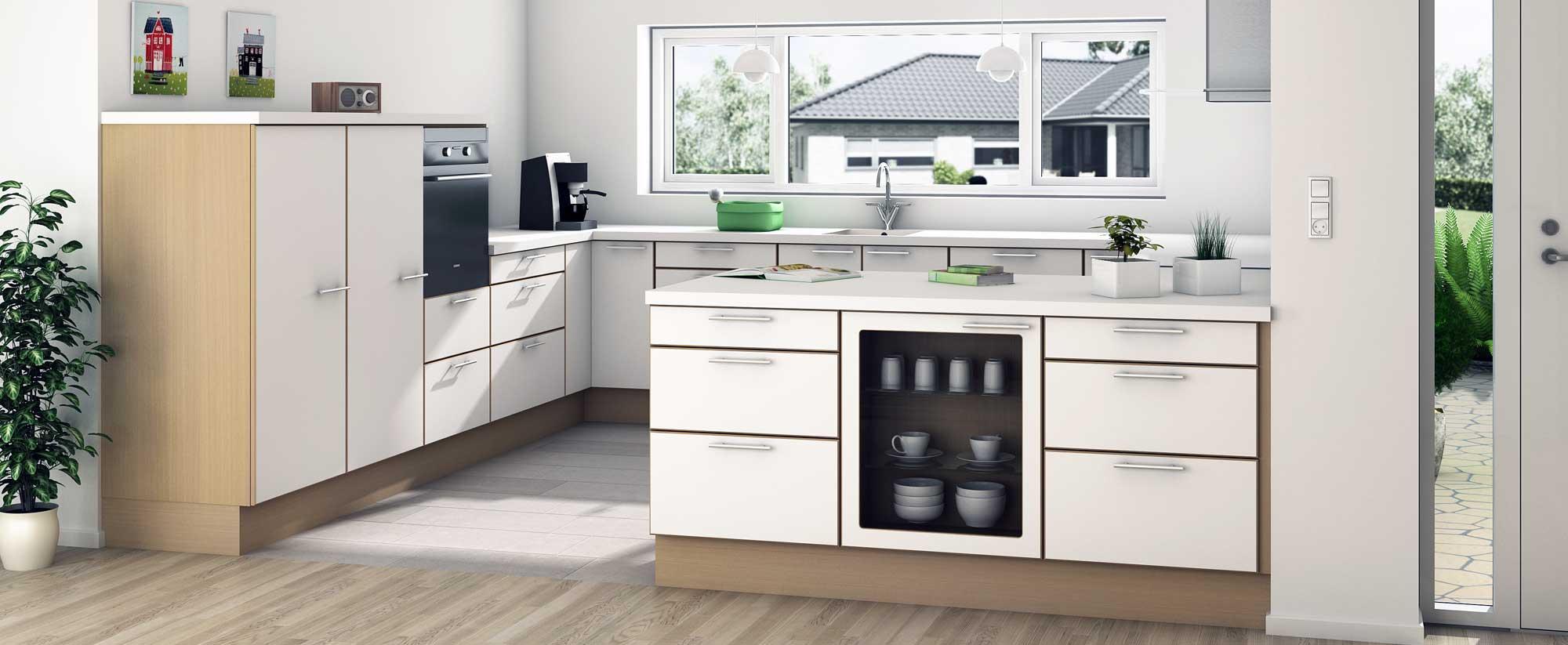 Kimbrer modulkøkken Stenild. Få mere køkken for pengene. Snedkerkøkken, formkøkken, modulkøkken.