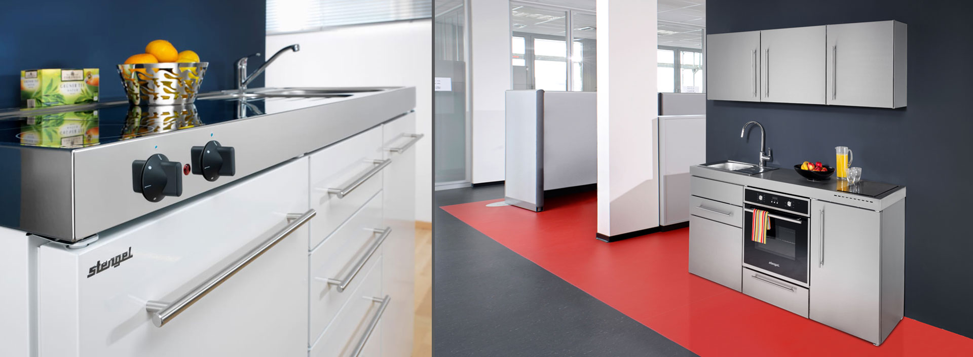 Kimbrer minikøkken - Premiumline kompakt minikøkken i rustfrit stål - vælg mellem mange varianter og 8 flotte farver. Plads til at spise, arbejde, leve.