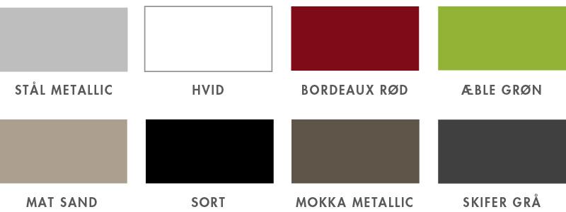 8 flotte farver til minikøkken fra Kimbrer. Vælg din farvestil og dit design blandt de mange modeller i Kimbrers sortiment.