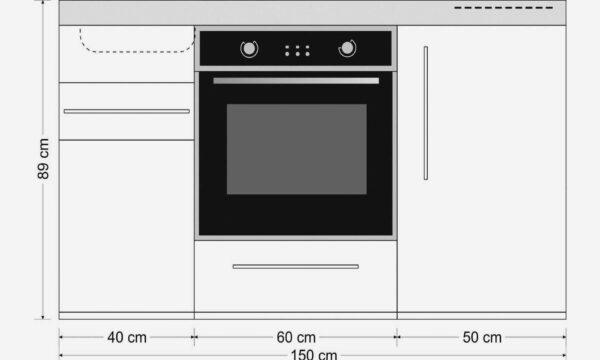 Måltegning: MPB 150 lille stålkøkken med ovn, køleskab, fryser, induktionskogeplader eller keramiske kogeplader, stålvask, skuffer og skabe. Hos Kimbrer Lines i Farsø.