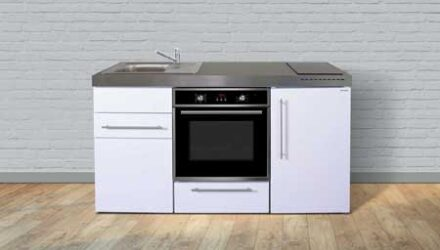 MPB 160 minikøkken fra Kimbrer - rustfrit stål, inkl. alle hvidevarer og i 8 flotte farver