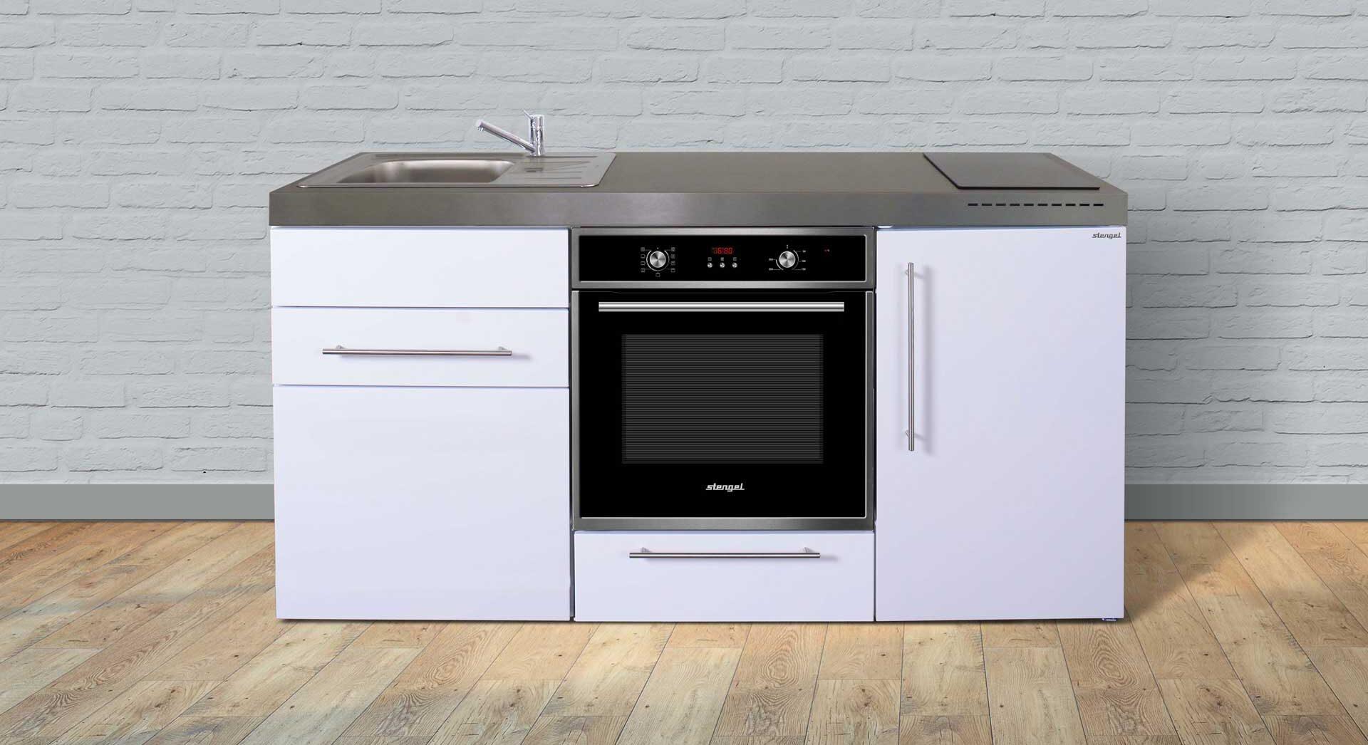 MPB 170 køkken i rustfrit stål - et solidt og flot lille køkken til små boliger (lejligheder, ferieboliger, kollegieværelse etc.) Vælg mellem 8 moderne farver. Miljøvenlige materialer.