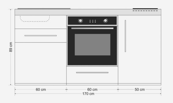 MPB 170 køkken i stål - måltegning: Inkl. alle hvidevarer og du kan tilvælge overskabe og højskabe. Nemt at tilslutte.