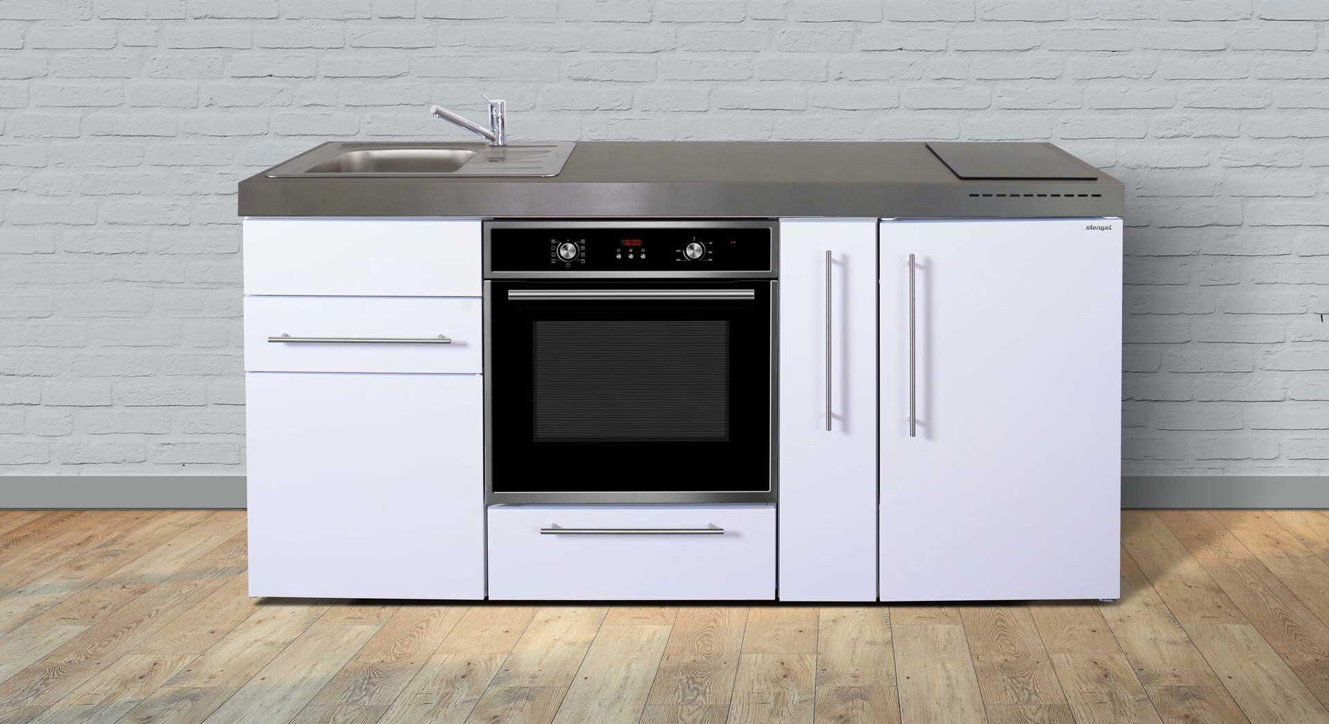 MPB 180 A minikøkken i rustfrit stål - vælg mellem 8 moderne farver, der passer til din bolig. Inkl. køleskab m. fryser, bageovn, udtræksskab, induktionskogeplader etc.