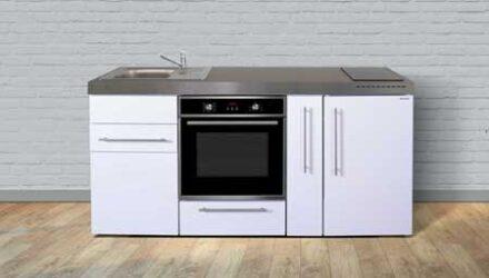 MPB 180 A minikøkken fra Kimbrer - slidstærkt og brandsikkert lille køkken i rustfrit stål, inkl. alle hvidevarer og i 8 flotte farver