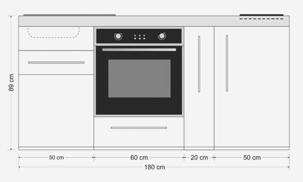 MPB 180 A måltegning - stål køkken med ovn, køleskab m. fryser, induktionskogeplader og meget mere. Sparer plads, tid og penge. Nemt at tilslutte. Slidstærkt og brandsikkert.
