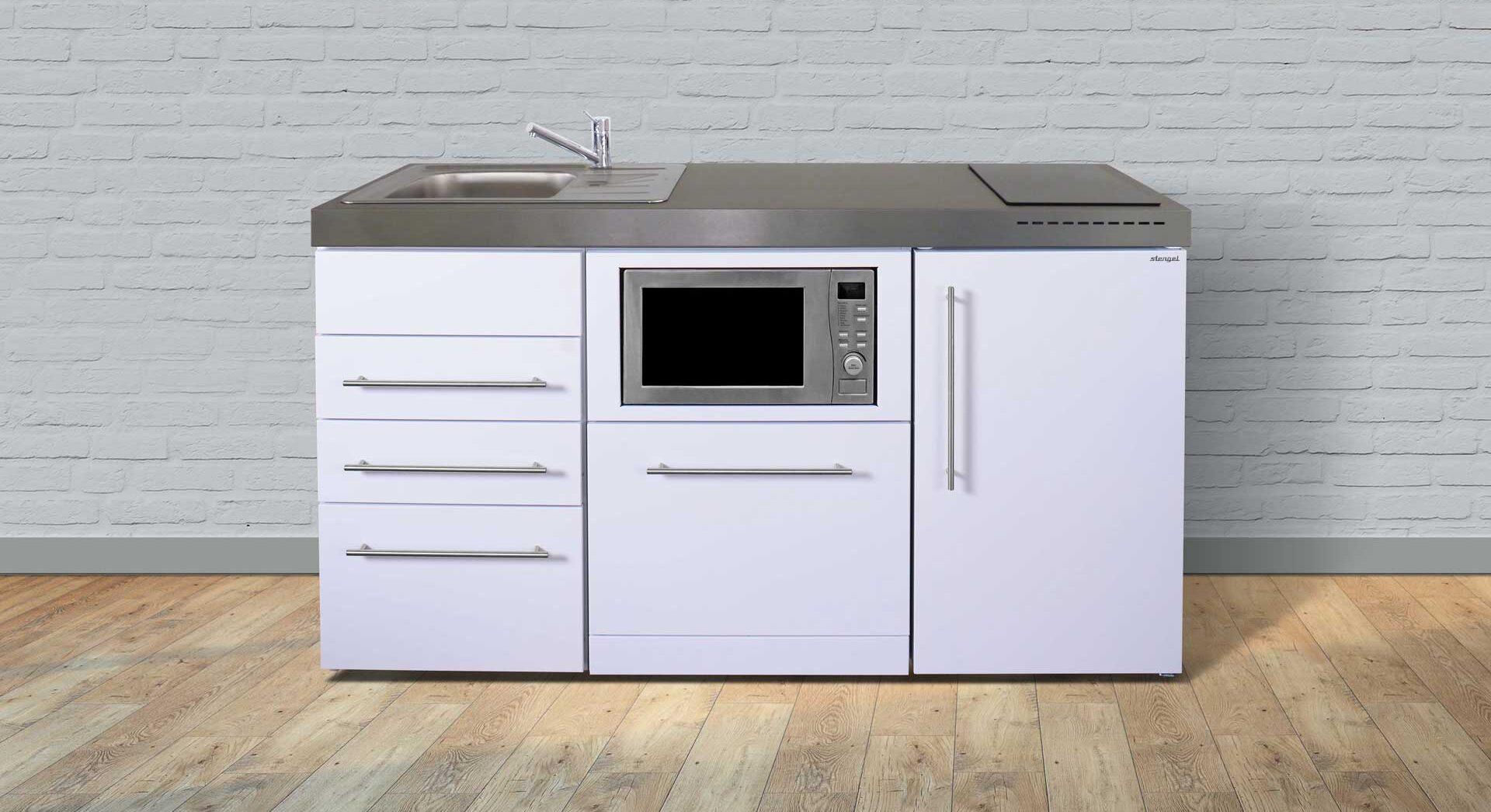 MPGSM3 160 minikøkken i rustfrit stål - inkl alle hvidevarer. Vælg mellem 8 flotte moderne farver. Inkl køleskab m. fryser, mikroovn, opvaskemaskine, induktionskogeplader mm.
