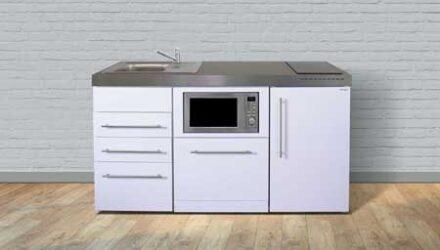 MPGSM3 160 minikøkken fra Kimbrer - klassisk minikøkken design i rustfrit stål, inkl. alle hvidevarer og i 8 flotte farver