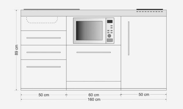 MPGSM3 160 minikøkken / stålkøkken - brandsikkert og slidstærkt. Inklusiv alle hvidevarer - ovn, køleskab, fryser, opvaskemaskine, induktionskogeplader etc.