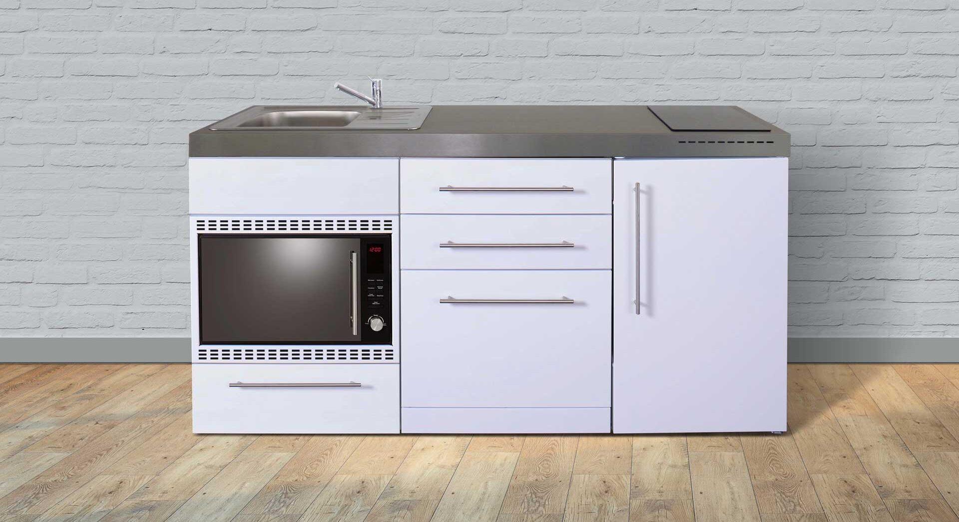 MPGSMOS 170 minikøkken i rustfrit stål - fuldt udstyret med hvidevarer. Vælg mellem 8 elegante farver. Inkl. køleskab m. frys, opvaskemaskine, mikroovn/ovn, induktionskogeplader mm.