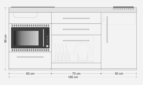 MPGSMOS 180 minikøkken i pulverlakeret rustfrit stål - måltegning - alle hvidevarer inkluderet. 8 flotte farver - tilvælg overskabe og højskabe i samme farve. Kimbrer Lines - tlf. 25 12 67 89 - mail info@kimbrerlines.dk