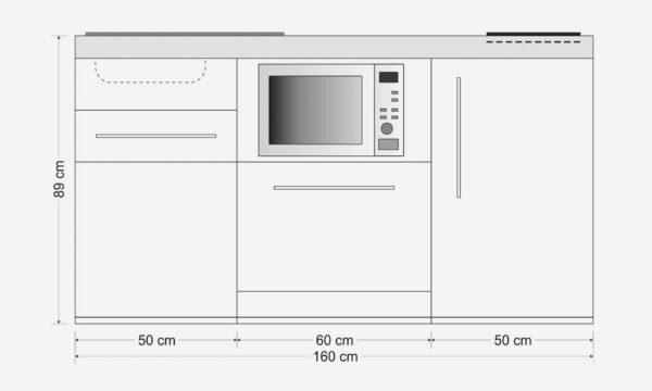 MPGSM 160 minikøkken i rustfrit stål - måltegning. Inkl. alle hvidevarer - f.eks. ovn, køleskab, fryser, opvaskemaskine, induktionskogeplade, skuffer etc.