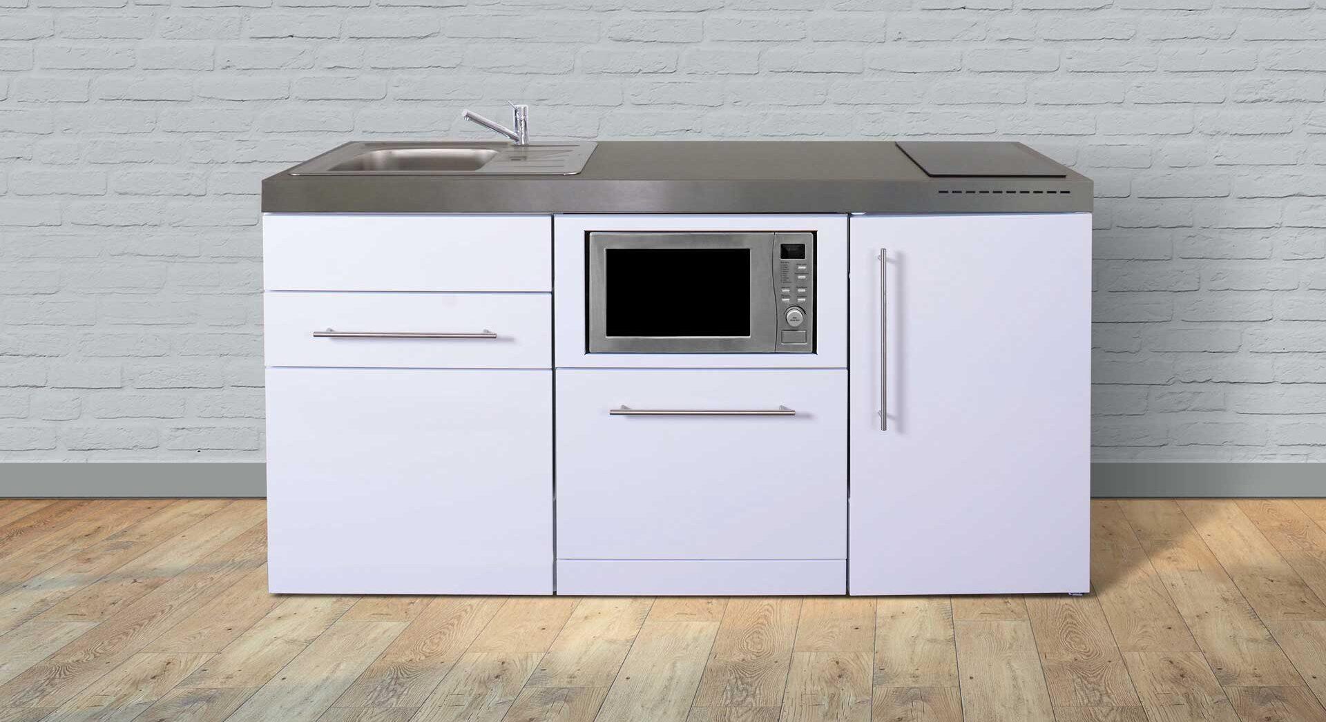 MPGSM 170 minikøkken i rustfrit stål - vælg mellem 8 elegante farver. Inkl. køleskab, fryser, mikroovn, opvaskemaskine, induktionskogeplader etc.