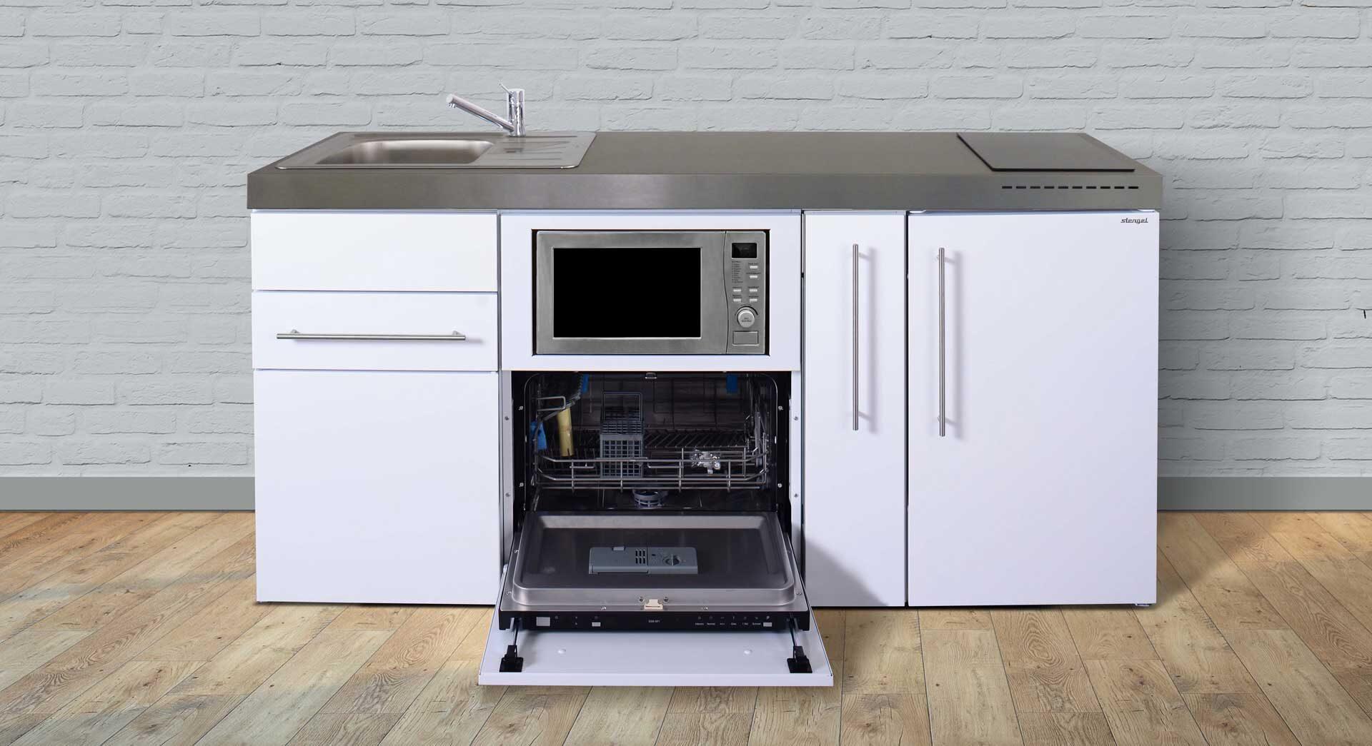 MPGSM 180 A - minikøkken i rustfrit stål - 8 flotte moderne farver. Inkl. køleskab m. fryser, microovn, opvaskemaskine, udtræksskab, induktionskogeplade mm. Kimbrer Lines i Farsø