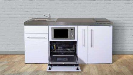 MPGSM 180 A minikøkken fra Kimbrer - stål køkken i pulverlakeret rustfrit stål, inkl. alle hvidevarer og i 8 flotte farver