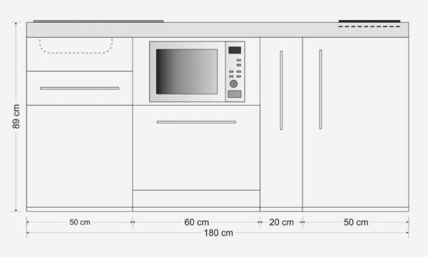 Måltegning: MPGSM 180 A minikøkken / stål køkken med alle hvidevarer