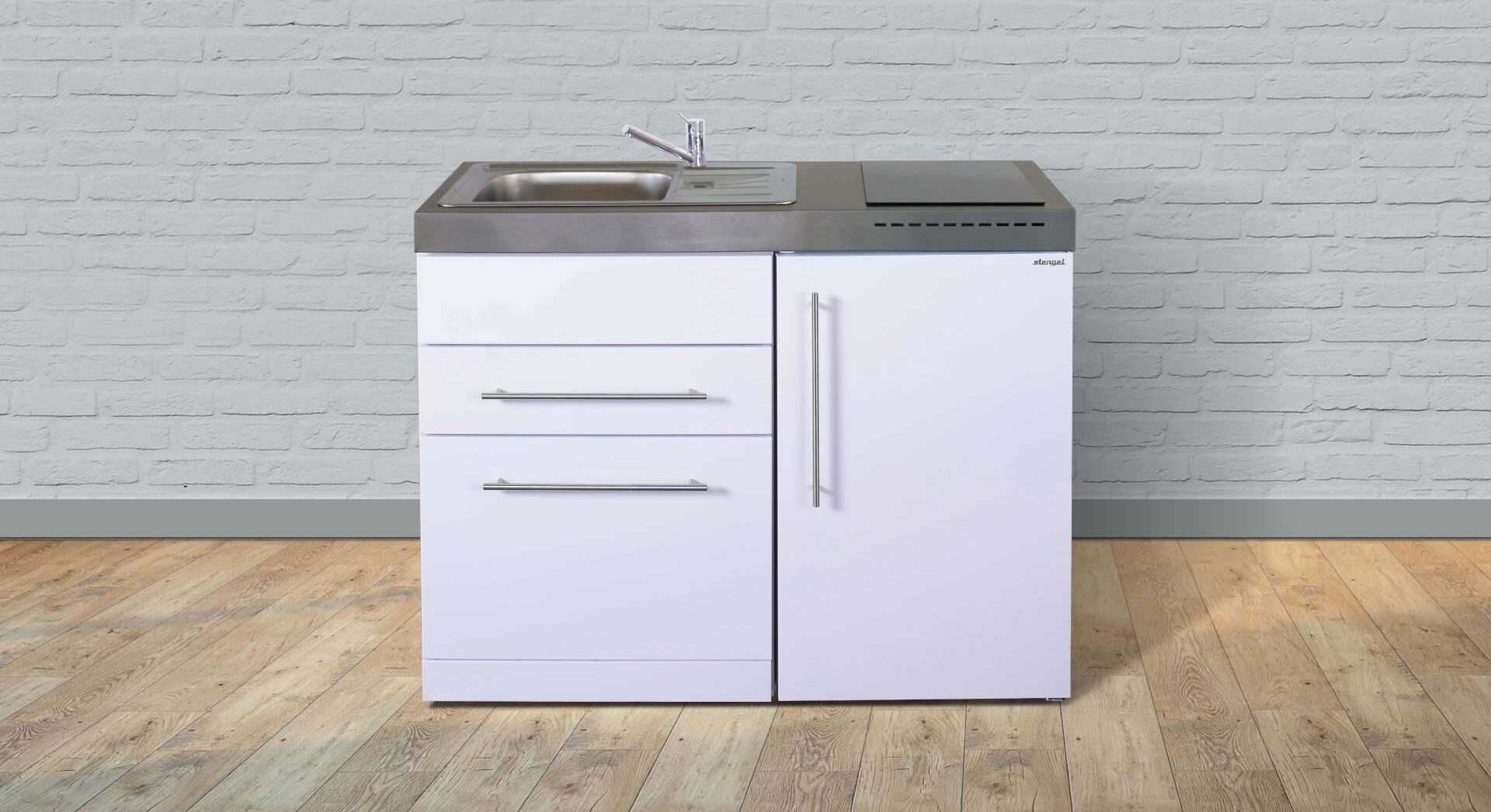 Minikøkken MPGS 110 S (stålkøkken) - lille kompakt alt-i-et køkken i bæredygtige materialer og med energibesparende hvidevarer - fra Kimbrer Lines, Røjbækvej 3, 9640 Farsø, tlf. 2512 6789