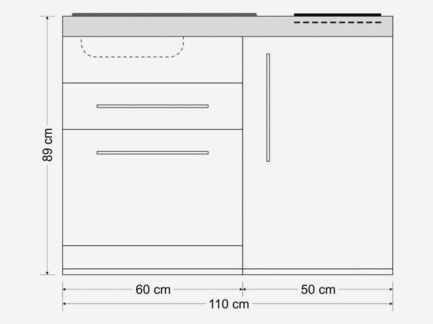 MPGS 110 S lille stål køkken - måltegning: Sådan får du alt du skal bruge i køkkenet på under 2 kvm.