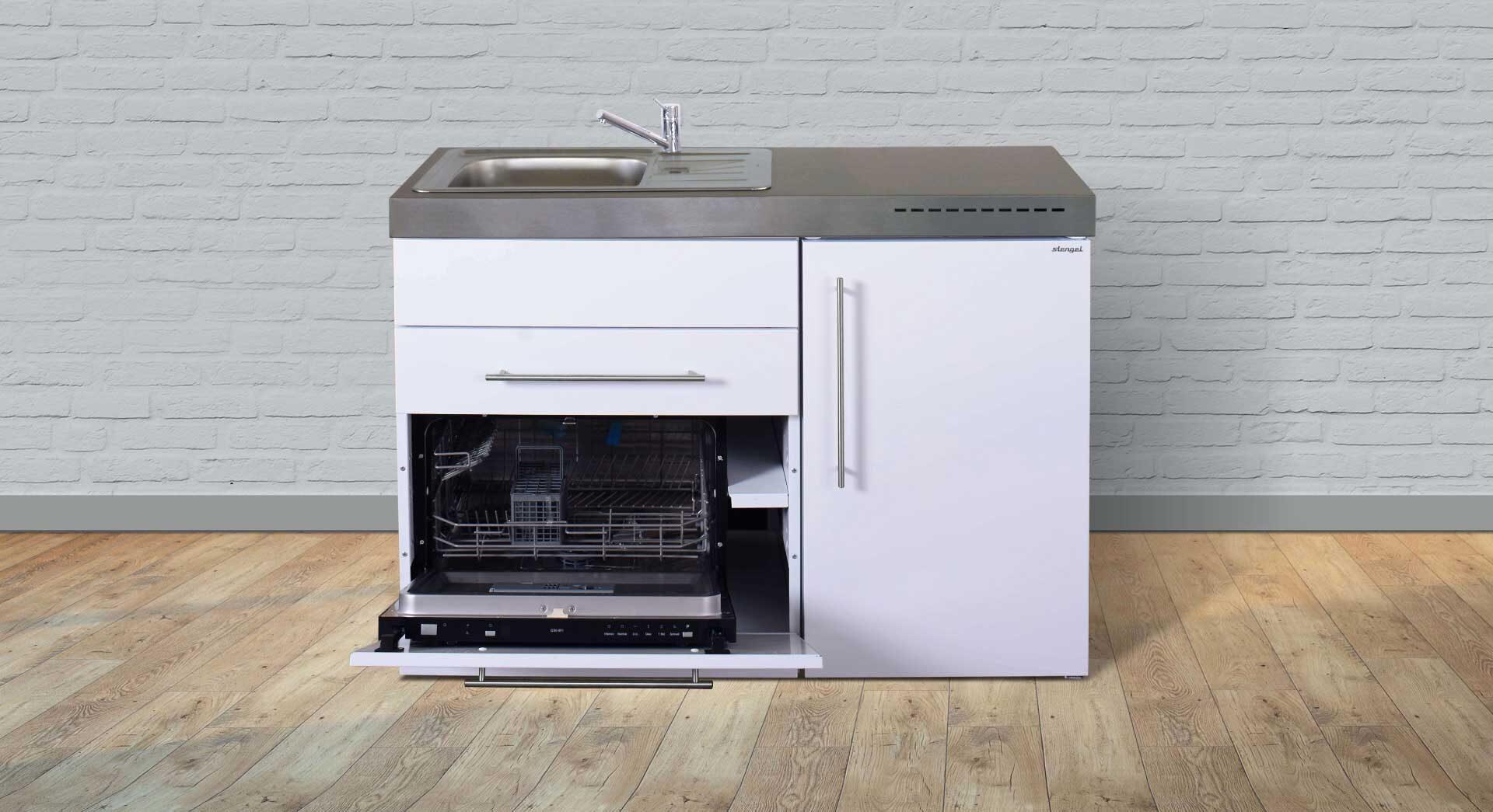 Kimbrer minikøkken MPGS 120 - med køleskab og frys, opvaskemaskine etc. Se pris og produktinfo.