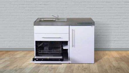 MPGS 120 minikøkken fra Kimbrer - rustfrit stål, inkl. alle hvidevarer og i 8 flotte farver