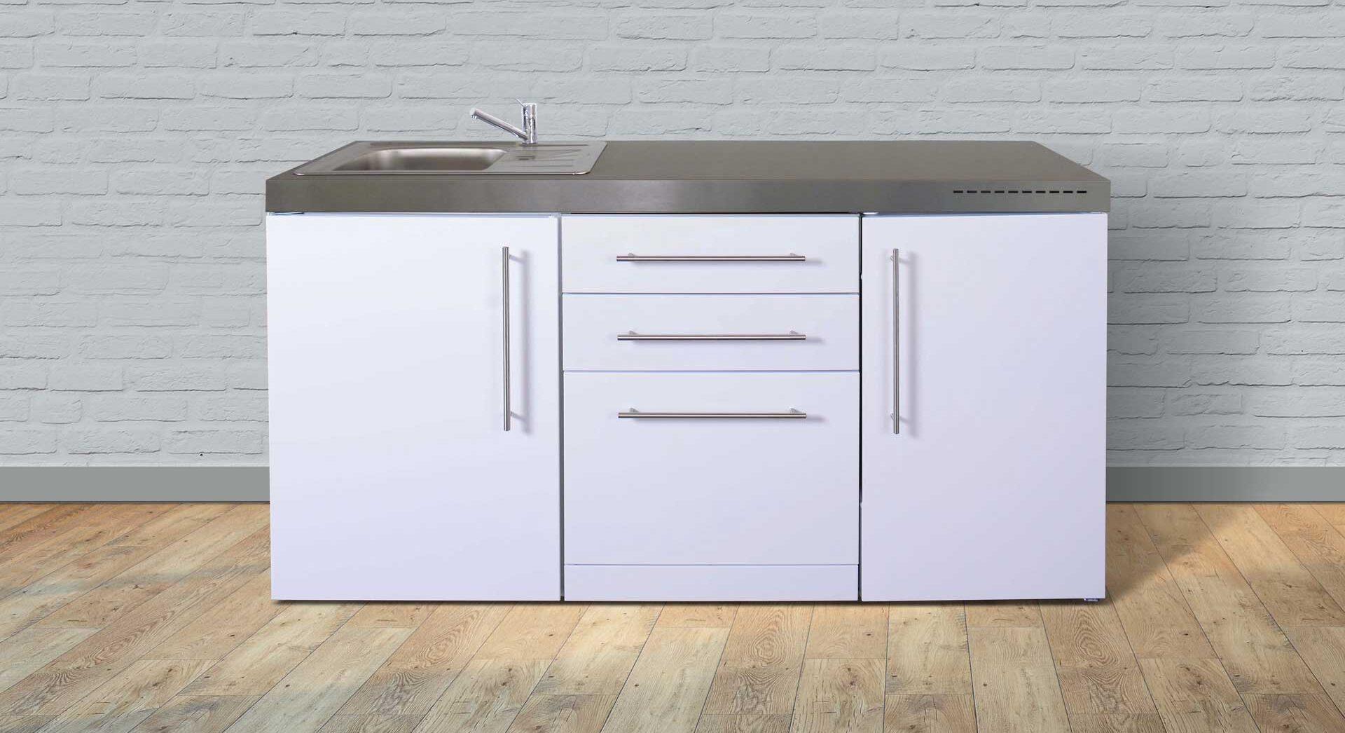 MPGS 170 rustfrit stål minikøkken - fås i 8 moderne farver. Inkl. køleskab m. frys, induktionskogeplader mm.