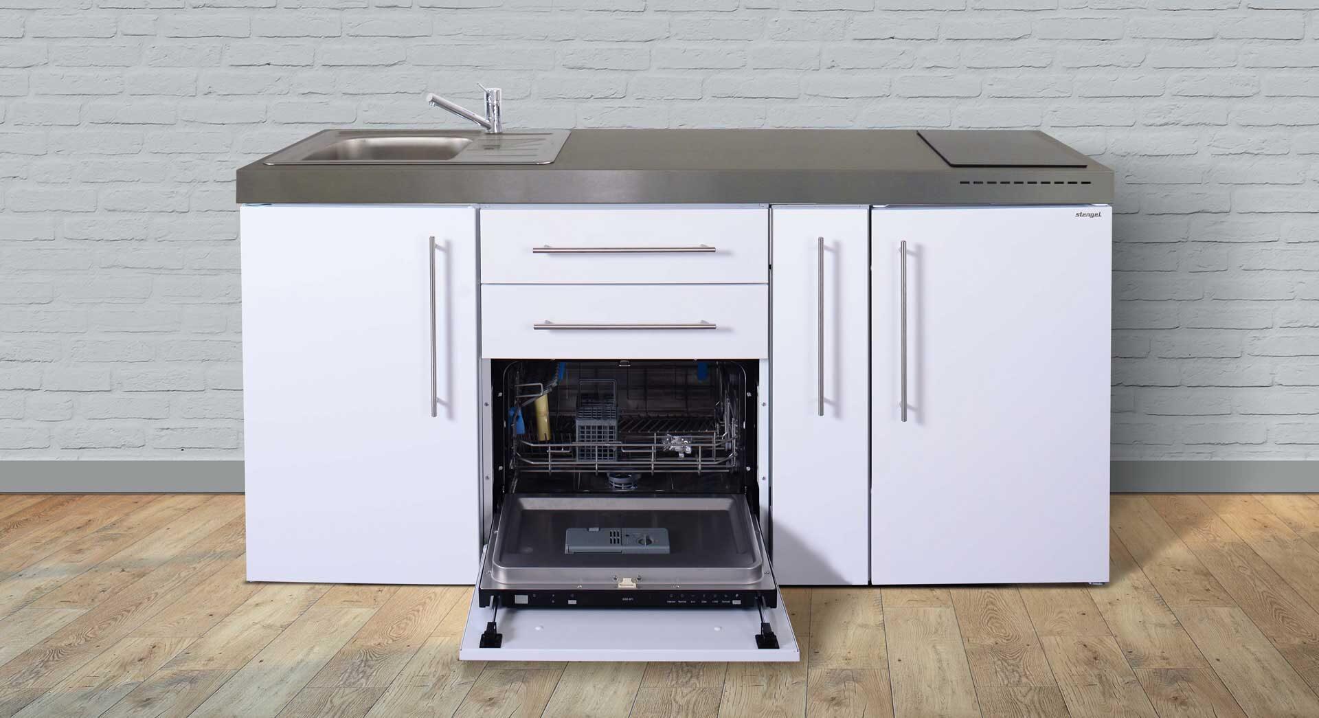 MPGS 180 A - pulverlakeret rustfrit stål minikøkken med køl/frys, opvaskemaskine, udtræksskab, induktionskogeplader mm.