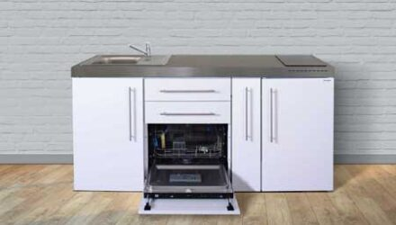 MPGS 180 A minikøkken fra Kimbrer - flot kompakt stål køkken rustfrit stål, inkl. alle hvidevarer og i 8 flotte farver