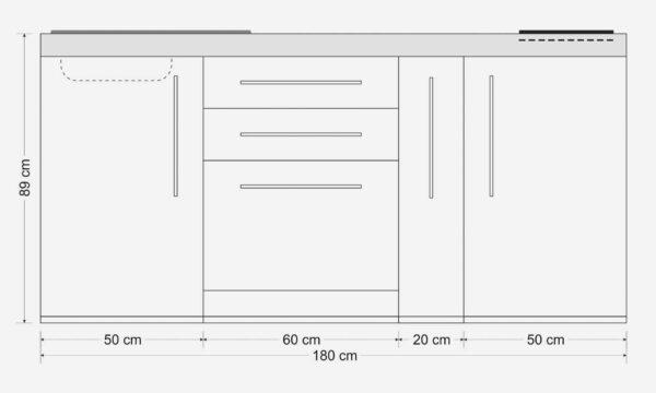 Måltegning MPGS 180 A minikøkken / Stål køkken - 8 tidløse farver