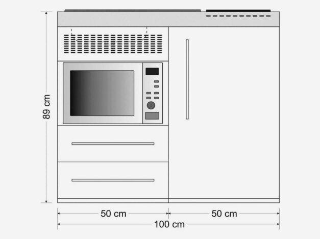 MPM 100 minikøkken - måltegning. Lille kompakt køkken til lille lejlighed - med alle hvidevarer inkluderet.