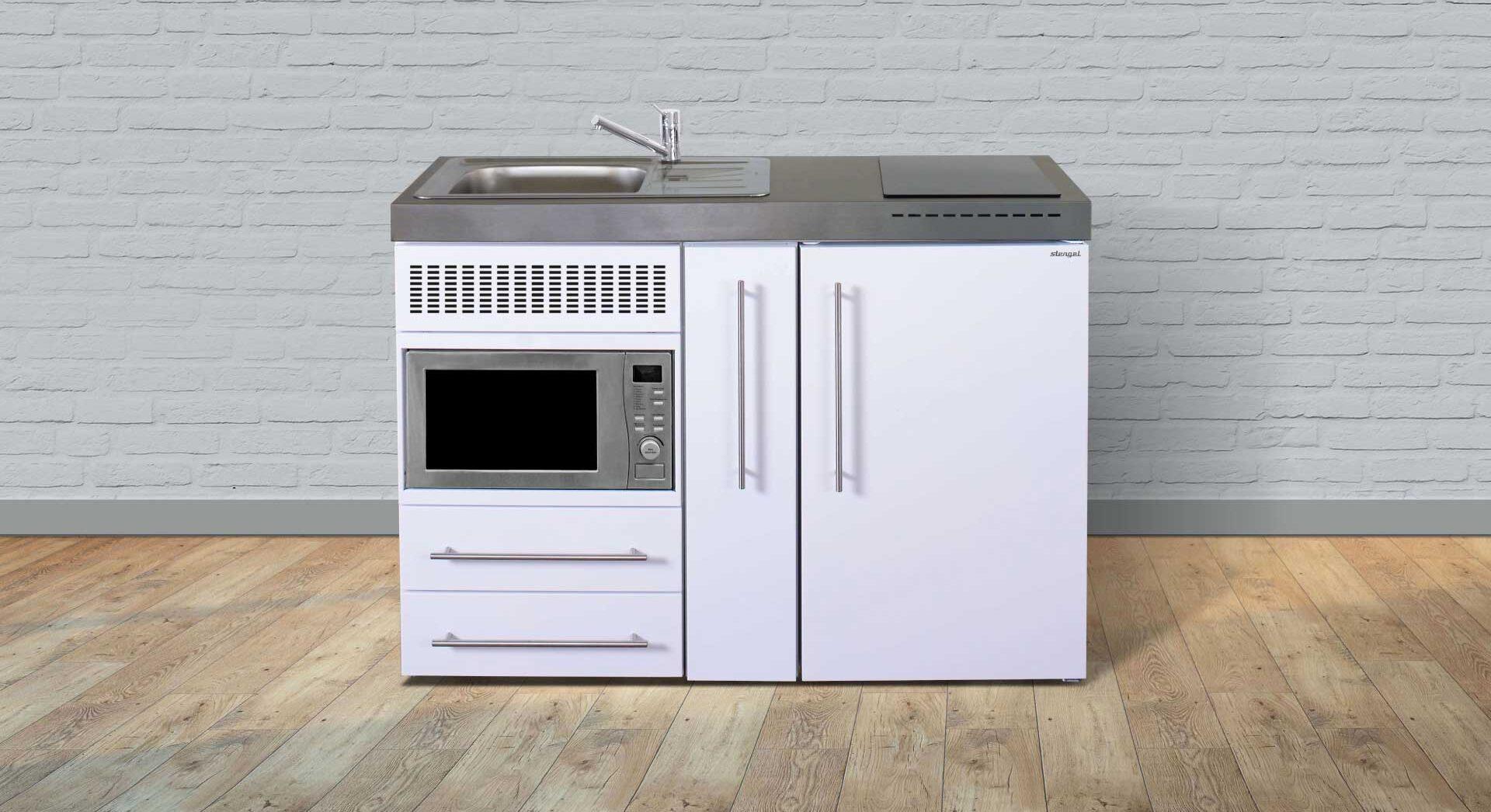 Lille kompakt køkken med indbygget ovn, køleskab m. frys, induktionskogeplade mm. MPM 120 A minikøkken i rustfrit stål.