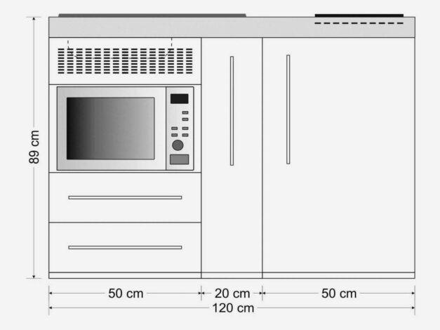 MPM 120 A minikøkken måltegning - kompakt køkken i rustfrit stål inkl. alle hvidevarer.