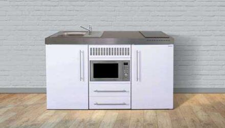MPM 150 minikøkken fra Kimbrer - alt-i-et kompakt køkken i rustfrit stål, inkl. alle hvidevarer (f.eks. ovn, køleskab, fryser, kogeplader, vask) og i 8 flotte farver - www.kimbrerlines.dk