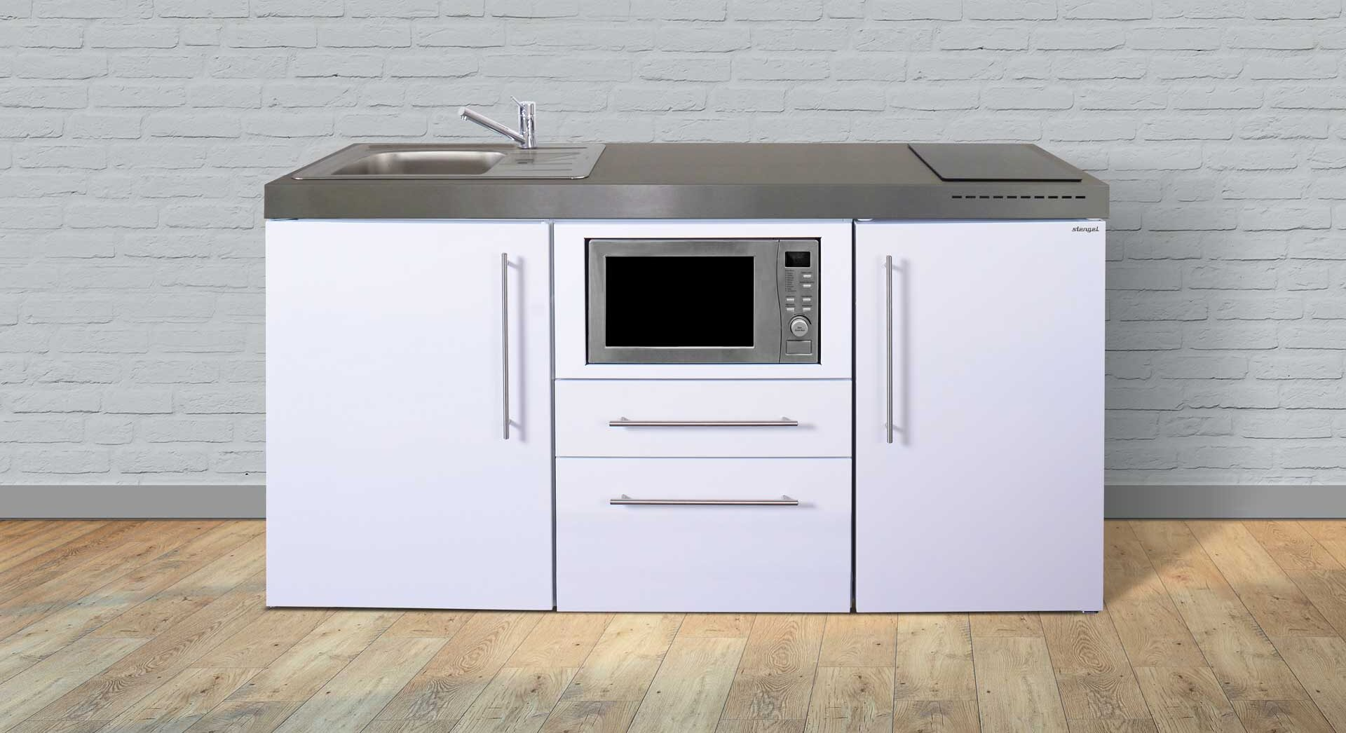 MPM 170 rustfrit stål minikøkken - med alle hvidevarer: køleskab m. frys, mikroovn, induktionskogeplade mm. Kimbrer Lines i Farsø.