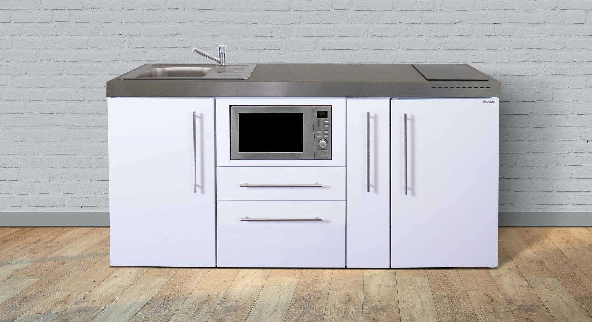 MPM 180 A - rustfrit stål minikøkken med mikro-ovn, køleskab m. frys, udtræksskab, induktionskogeplader mm. Vælg mellem 8 flotte farver.