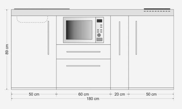 MPM 180 A mini køkken i rustfri stål - måltegning. Køkken med alle hvidevarer - fylder minimalt i køkkenrummet.