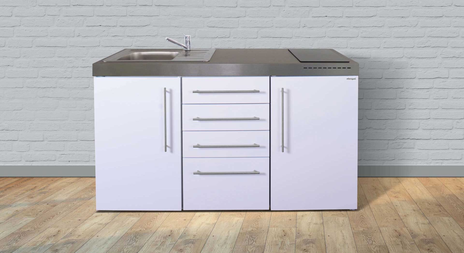 Minikøkken i rustfrit stål - MPS4 150 premiumline fra Kimbrer. Alt-i-et køkken der fylder under 2 kvm. Klassisk design i 8 flotte farver.