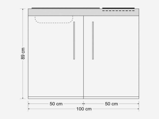 Måltegning MP 100 Premiumline - minikøkken der giver dig plads til at arbejde, bo og leve - selv med et lille rumareal. Du vælger mellem 8 elegante farver.