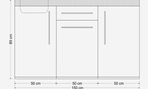 MP 150 lille alt-i-et stålkøkken - måltegning: Minikøkken i rustfri stål med alle hvidevarer indbygget - vælg mellem 8 smarte farver i pulverlakeret stål. Miljøvenligt.
