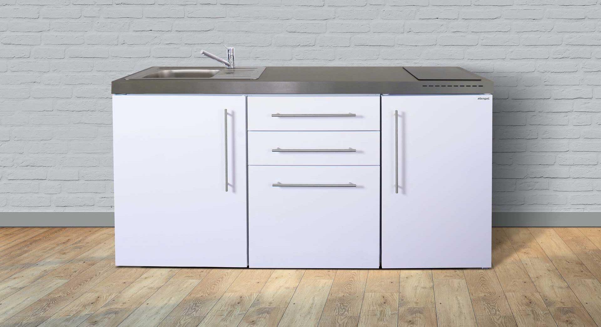 MP 170 stålkøkken til lille bolig, lejlighed, værelse, kollegiebolig etc. Fås i 8 moderne farver. Inkl. hvidevarer.