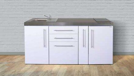MP 180 A minikøkken fra Kimbrer - lille køkken løsning i rustfrit stål, inkl. alle hvidevarer og i 8 flotte farver